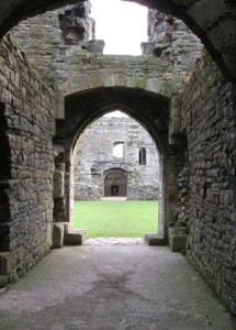 Beaumaris Castle, viewed through the outer gate into the outer ward and looking at the inner gate