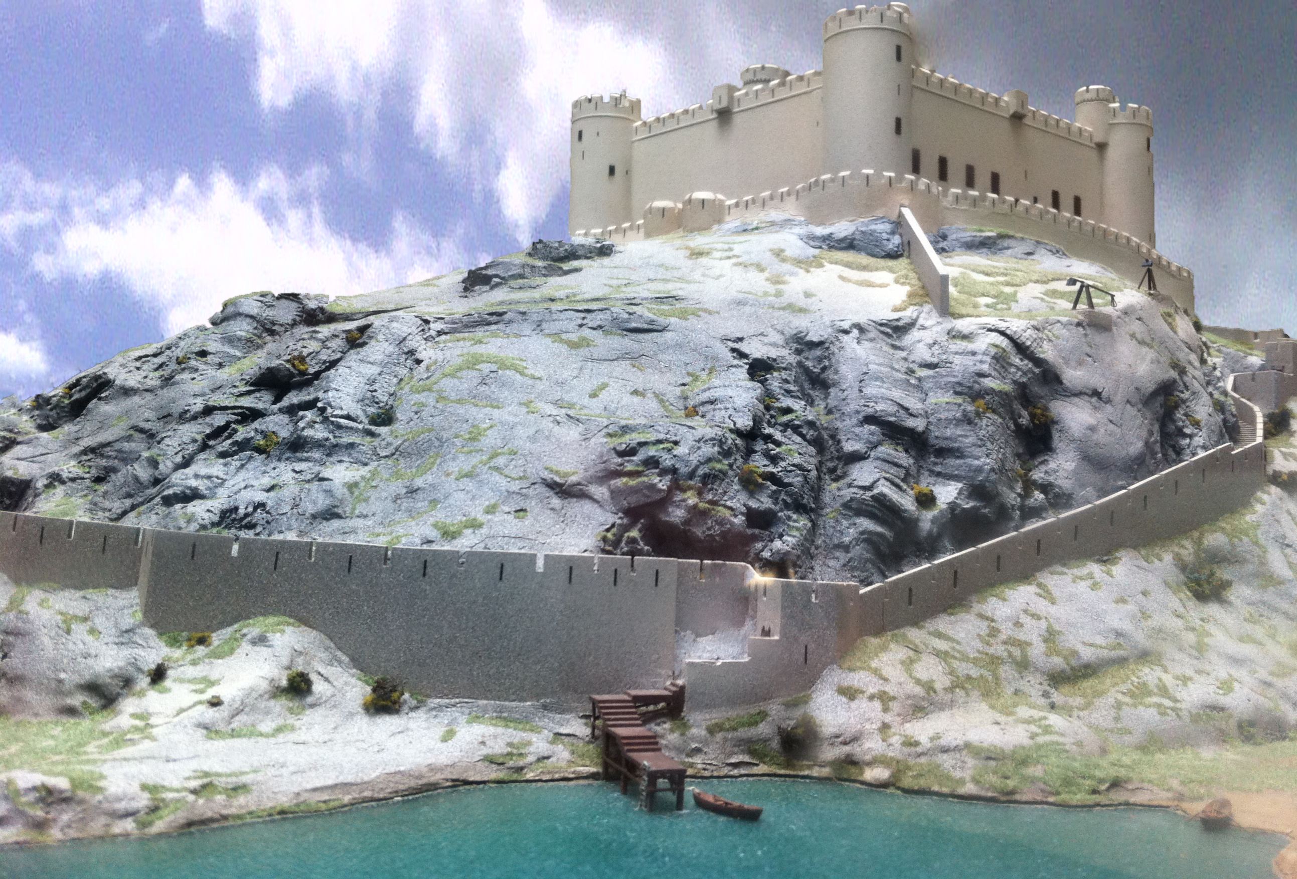 Three part Battlemap Of The 13th century Harlech Castle In