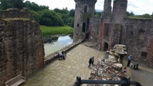 Caerlverock Castle courtyard as viewed from the tower